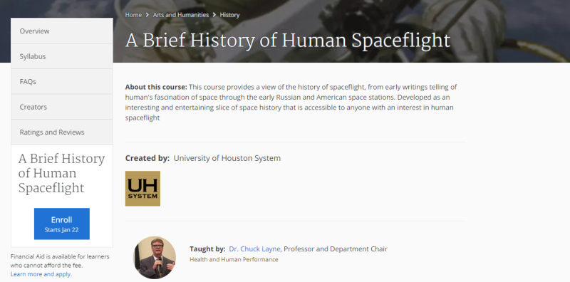 spacetech online courses, coursera, history of human spaceflight